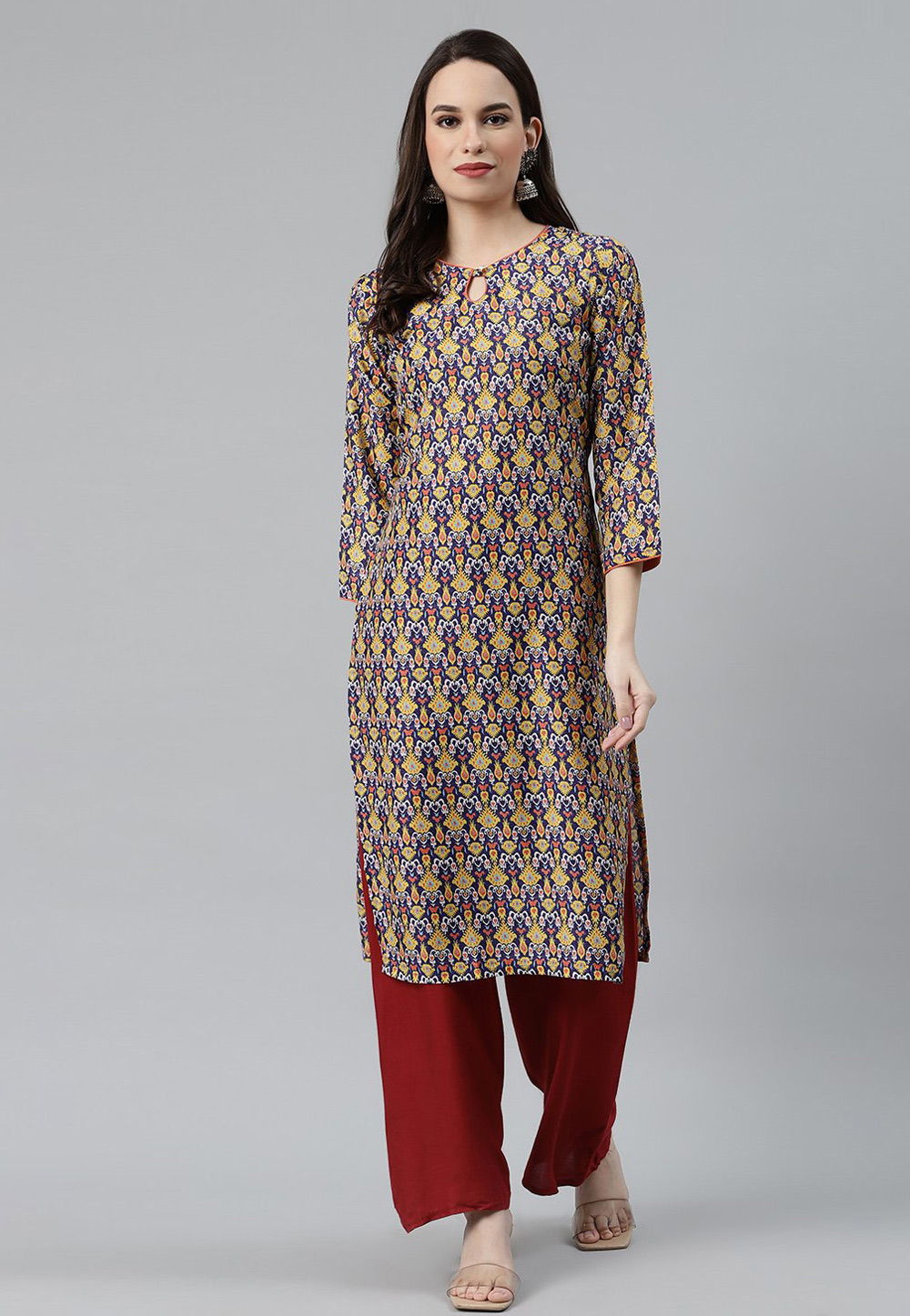 Blue Polyester Printed Tunic 223412