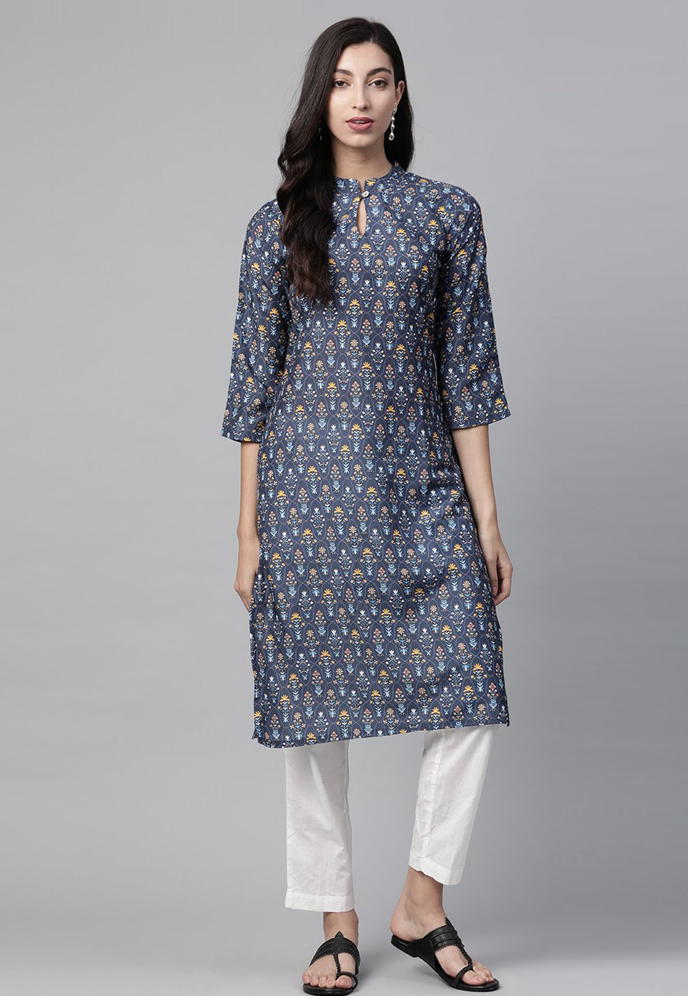 Navy Blue Polyester Tunic 223576