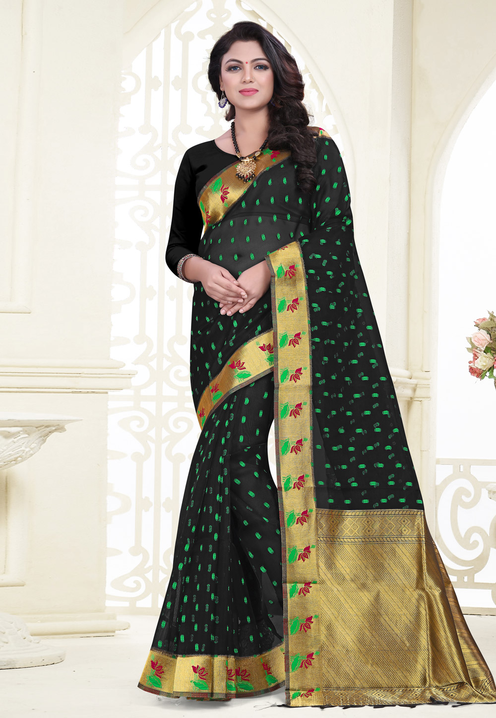 Black Banarasi Silk Saree With Blouse 180524