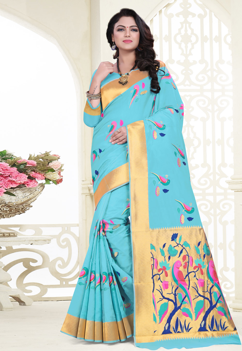 Light Blue Banarasi Silk Festival Wear Saree 180529
