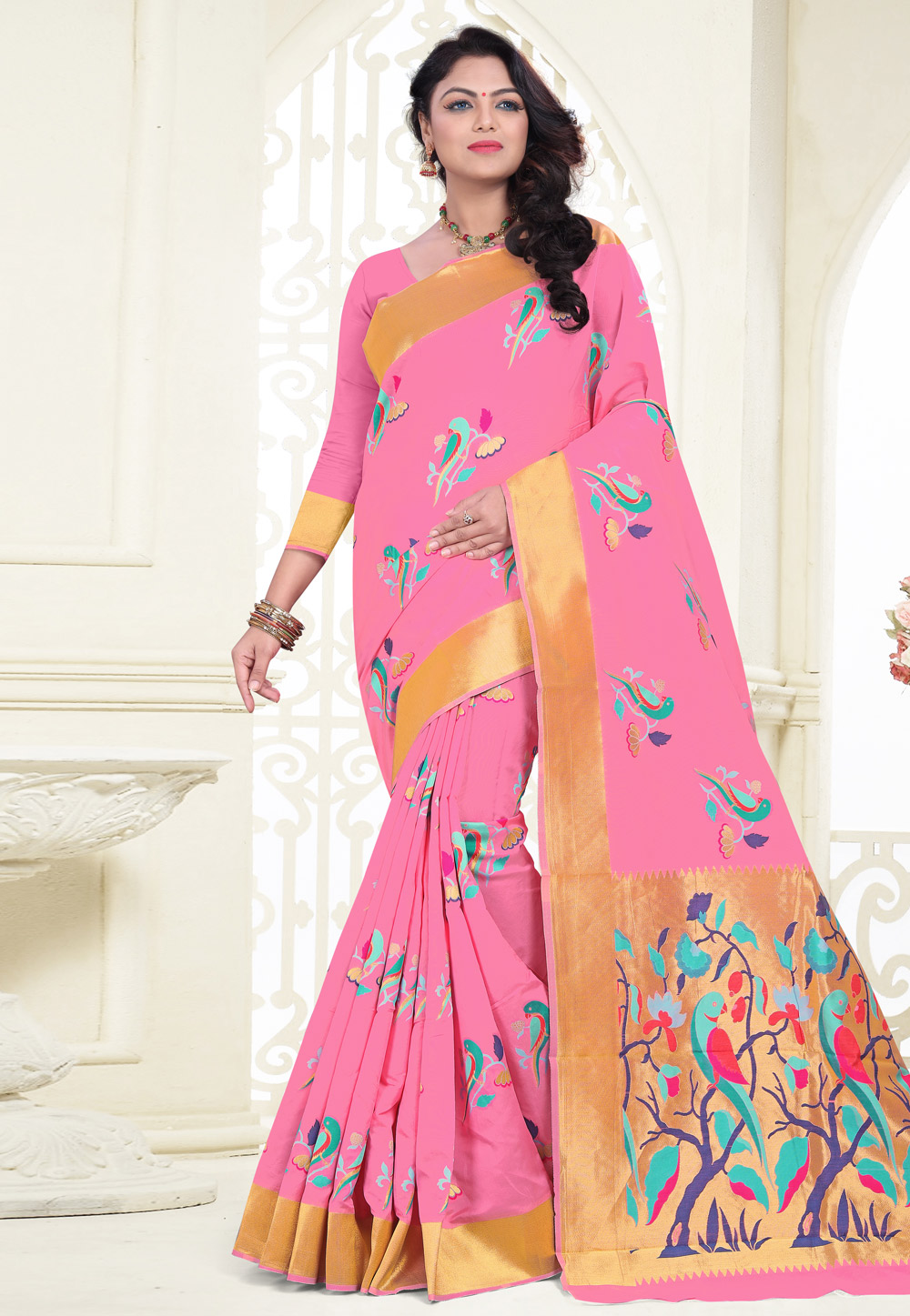 Pink Banarasi Silk Saree With Blouse 180530