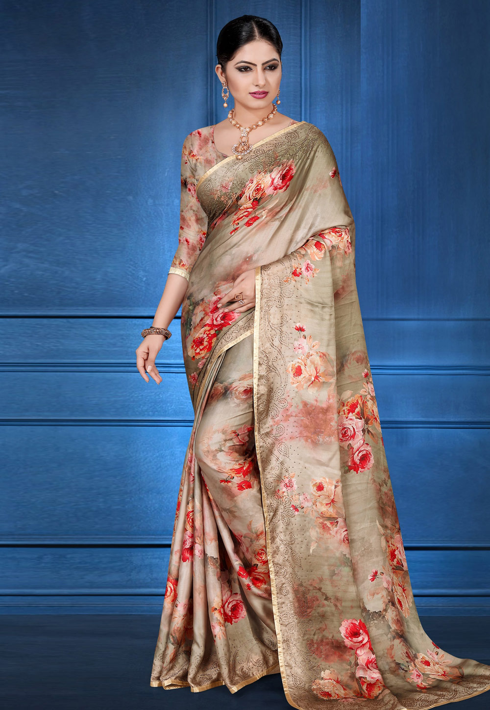 Beige Satin Printed Saree With Blouse 183830