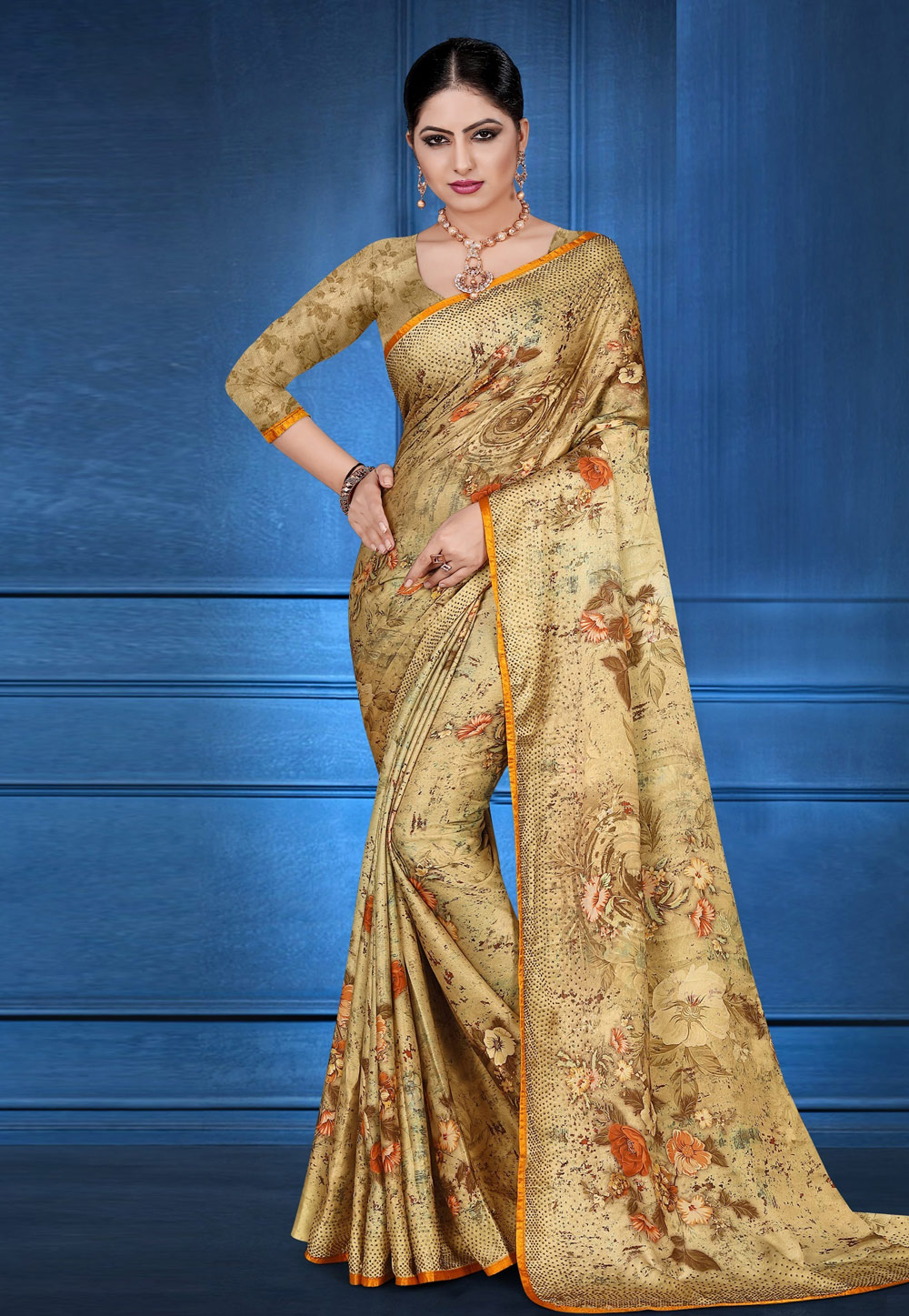 Beige Satin Printed Saree With Blouse 183832