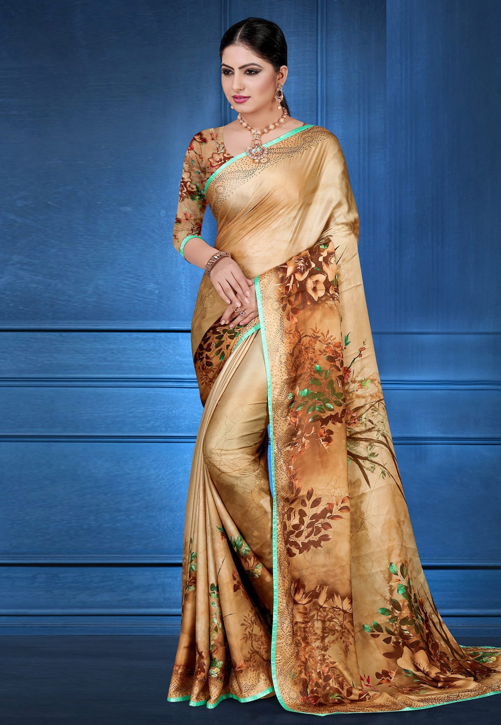 Beige Satin Printed Saree With Blouse 183836