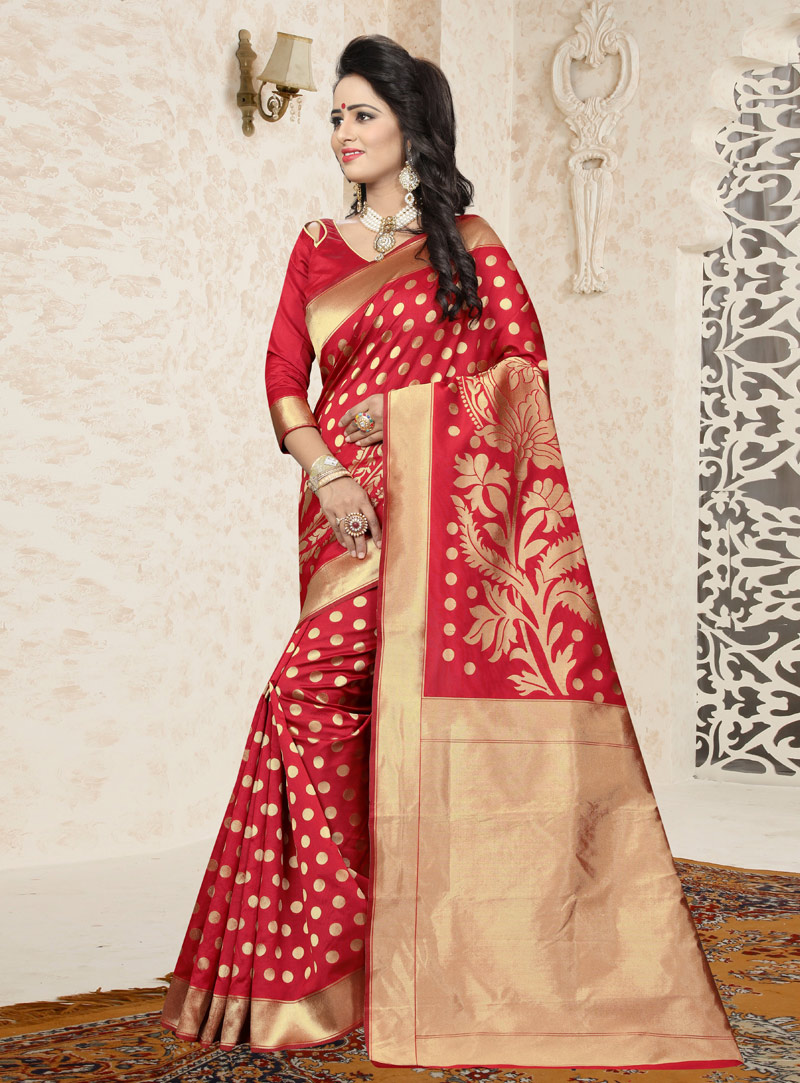 Red Banarasi Silk Saree With Blouse 144028