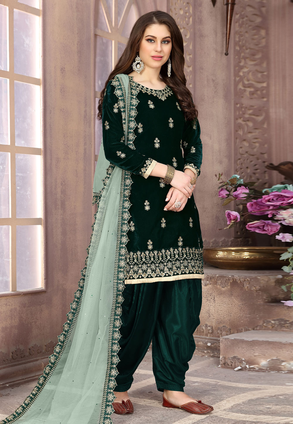 Green Velvet Embroidered Patiala Suit 194853