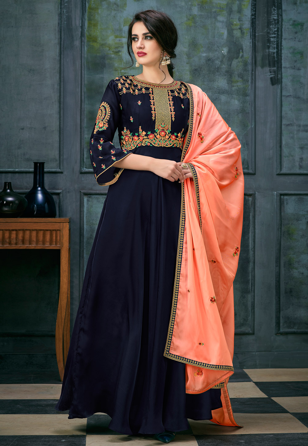 Navy Blue Satin Ankle Length Anarkali Suit 163765