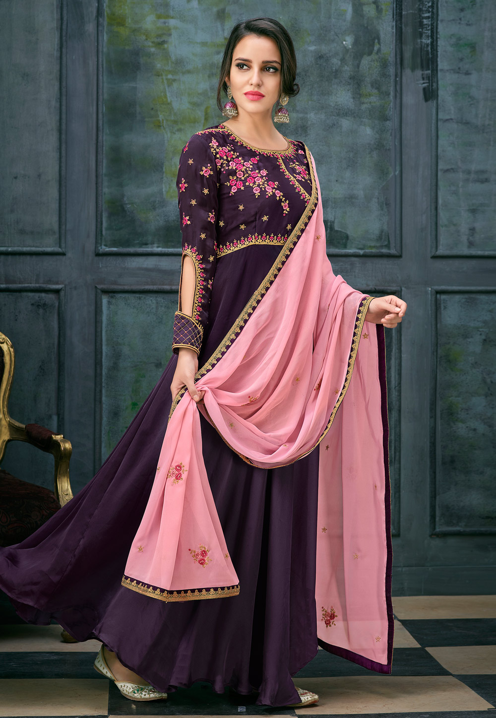 Purple Satin Ankle Length Anarkali Suit 163767