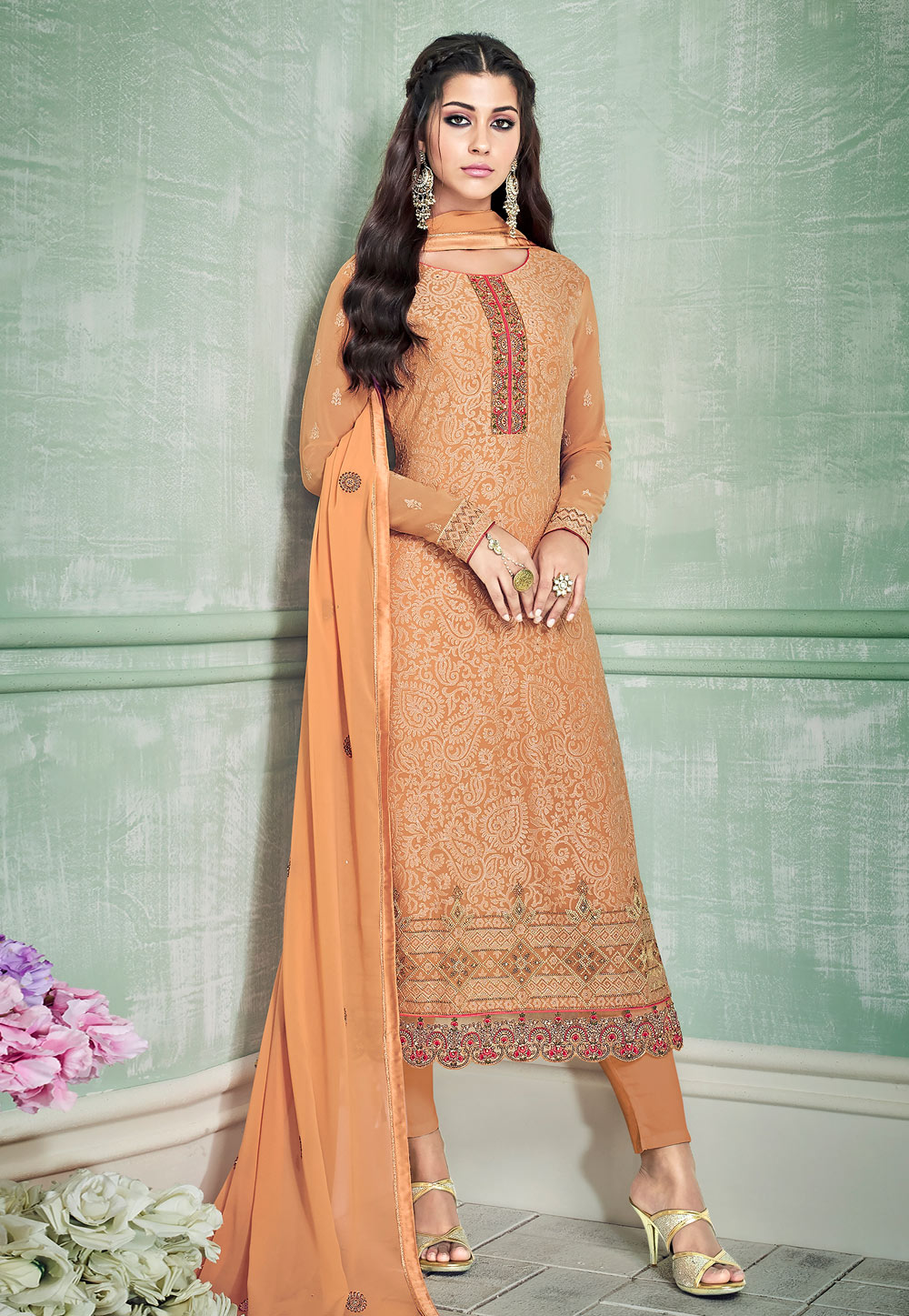 Orange Georgette Kameez With Pant 181897