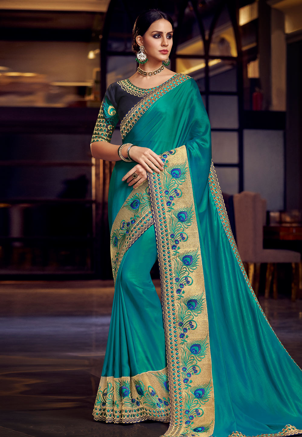 Turquoise Blue Silk Festival Wear Saree 164788