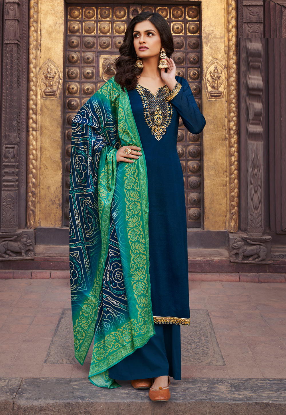 Navy Blue Chinon Kameez With Palazzo 223031