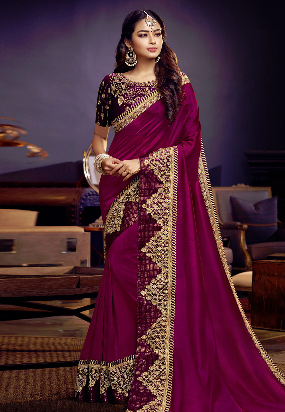 Purple Silk Festival Wear Saree 164793