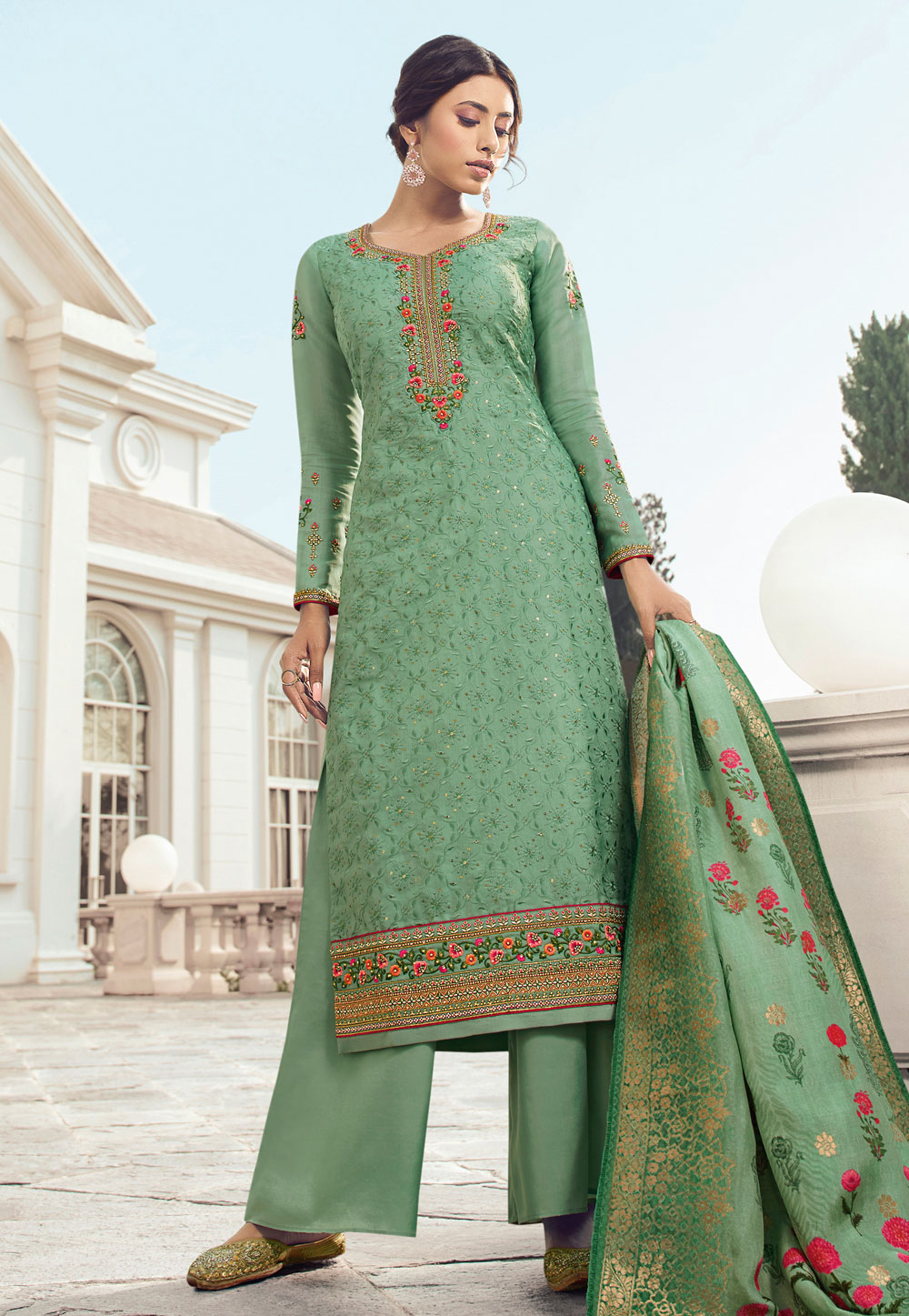 Light Green Tussar Kameez With Palazzo 199189