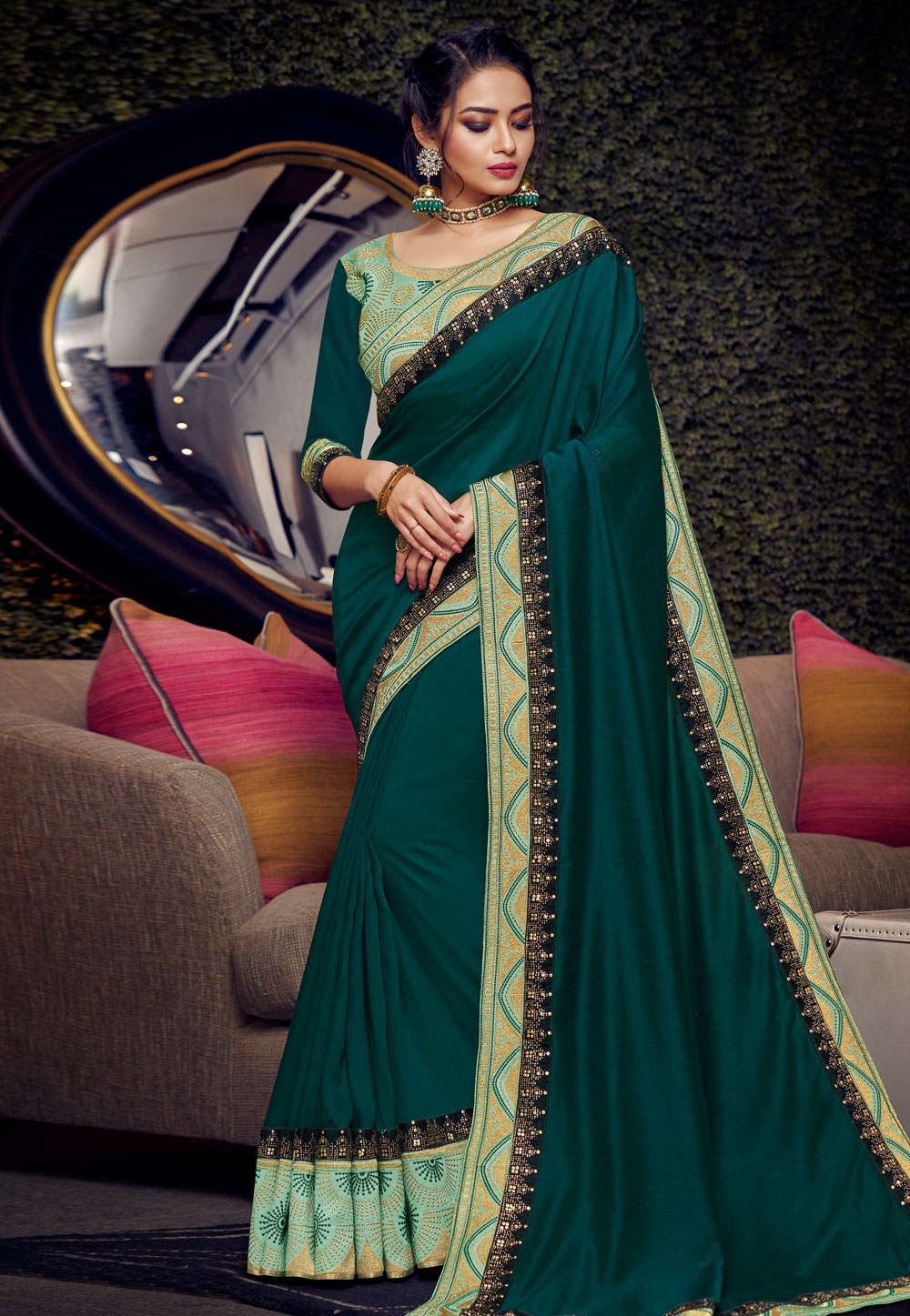 Teal Blue Silk Party Wear Saree 164800