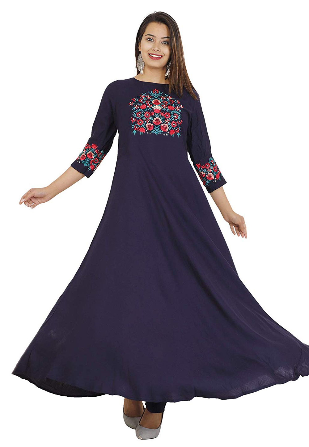 Navy Blue Rayon Readymade Flared Gown 176662