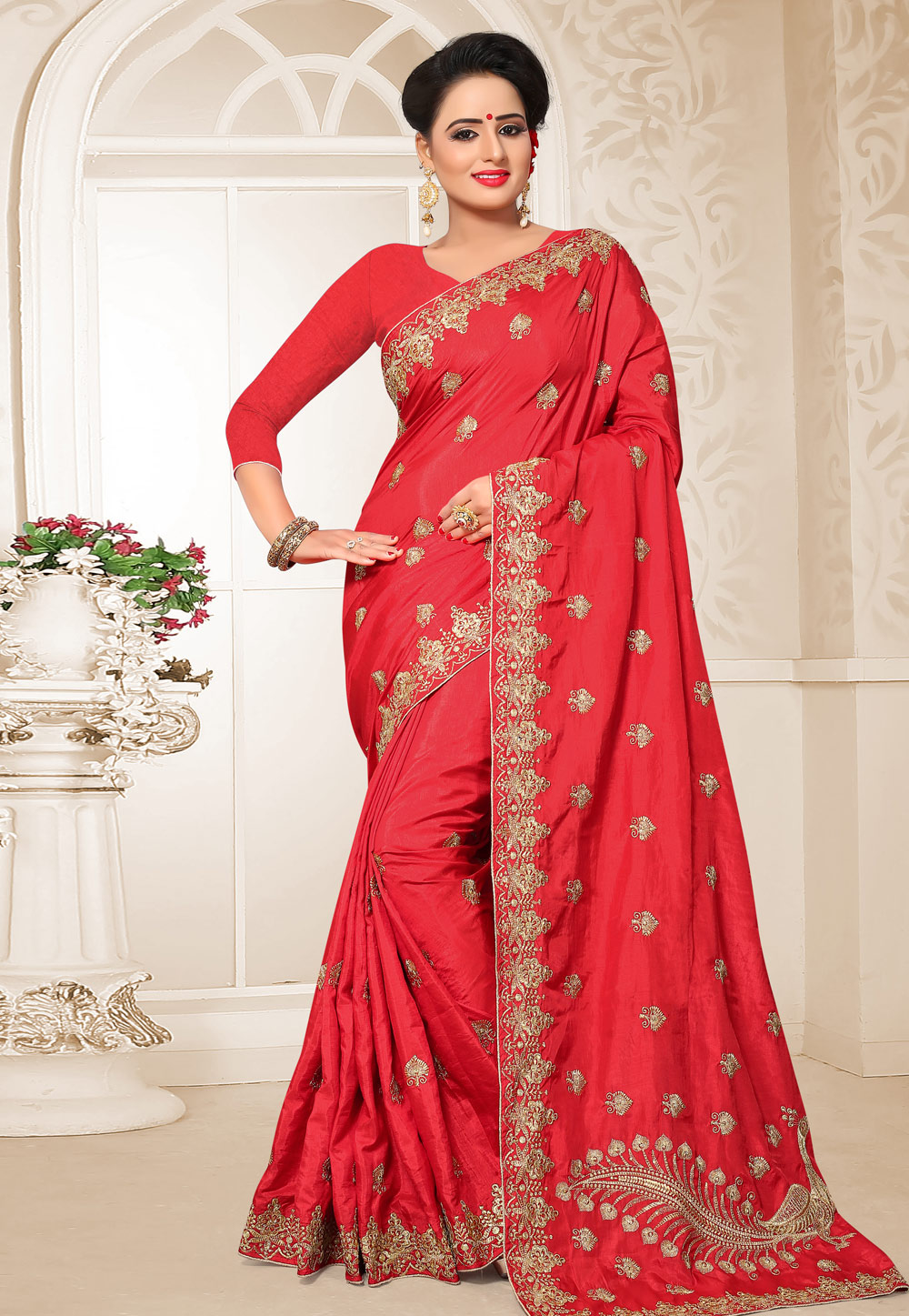 Red Silk Festival Wear Saree 183616