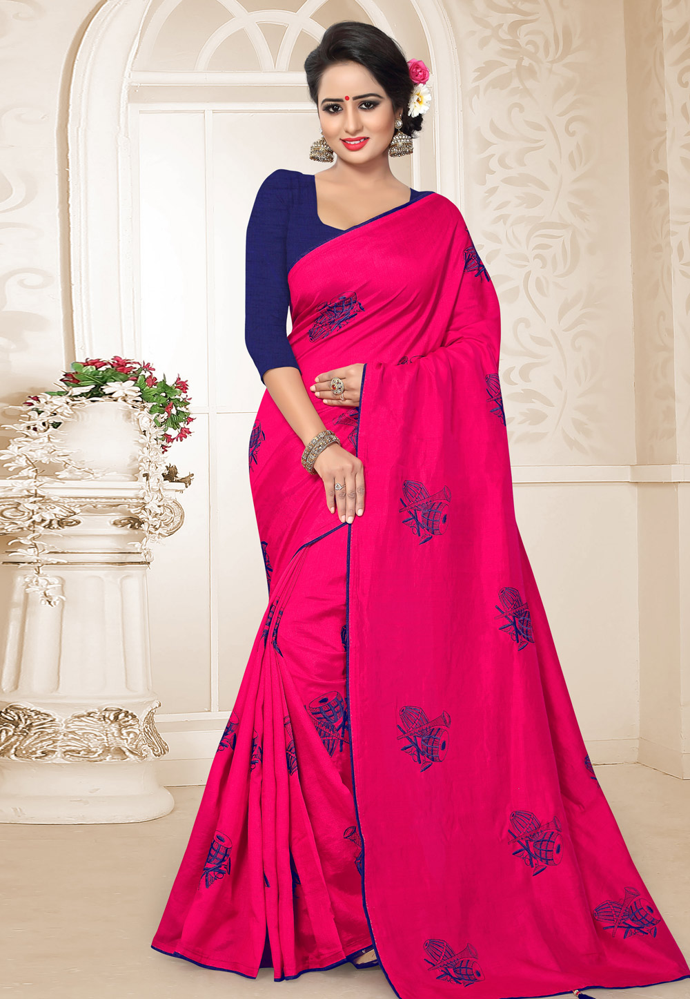Magenta Silk Festival Wear Saree 183624
