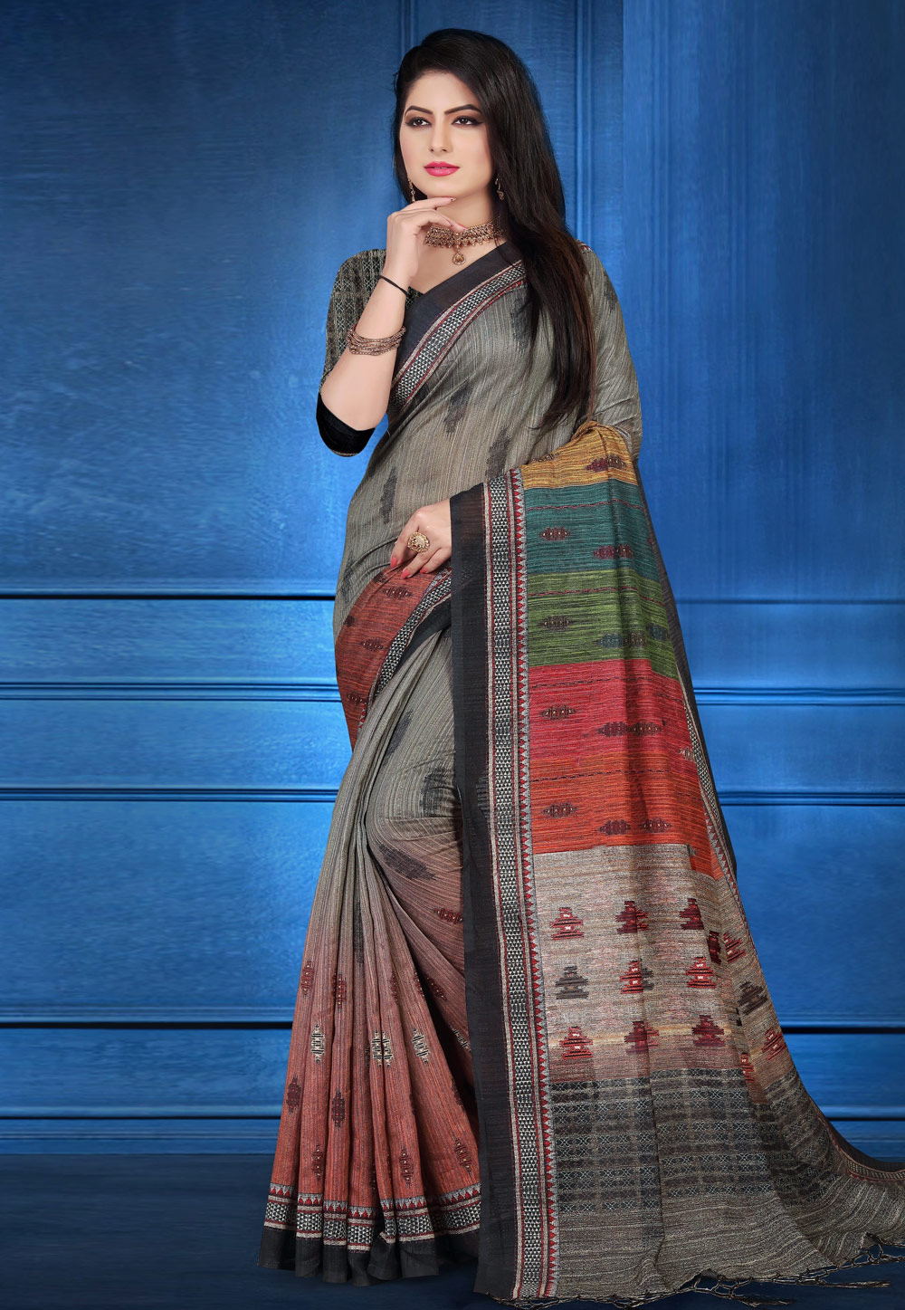 Grey Art Silk Printed Festival Wear Saree 183659