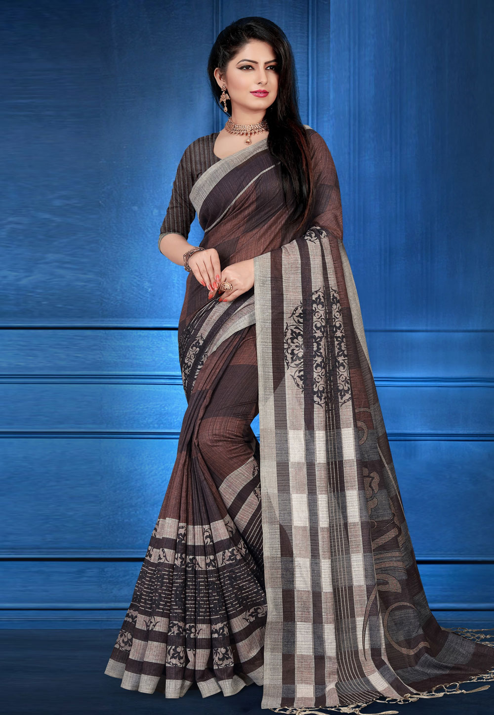 Brown Art Silk Printed Saree With Blouse 183662