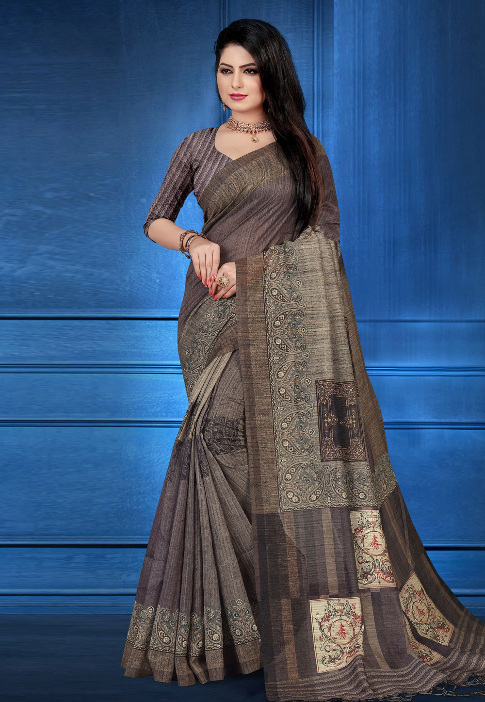 Grey Art Silk Printed Festival Wear Saree 183663
