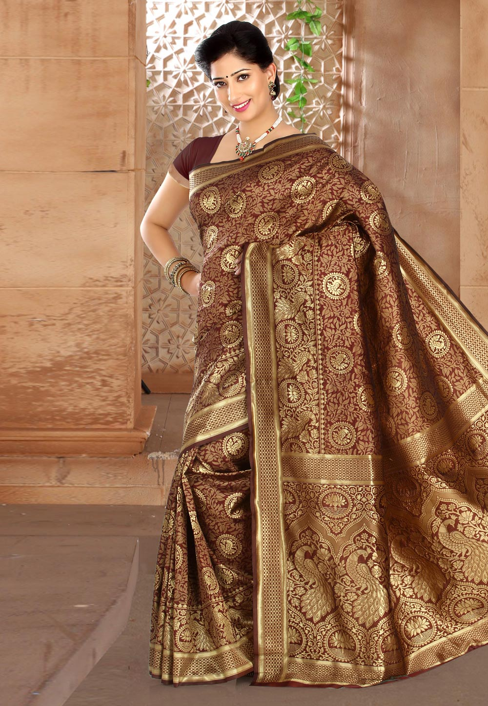 Wine Banarasi Saree With Blouse 180363
