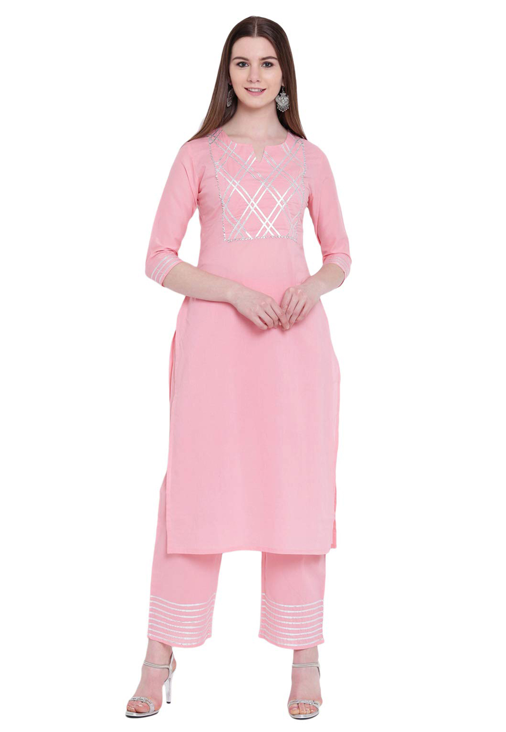 Light Pink Cotton Readymade Pant Style Suit 176665