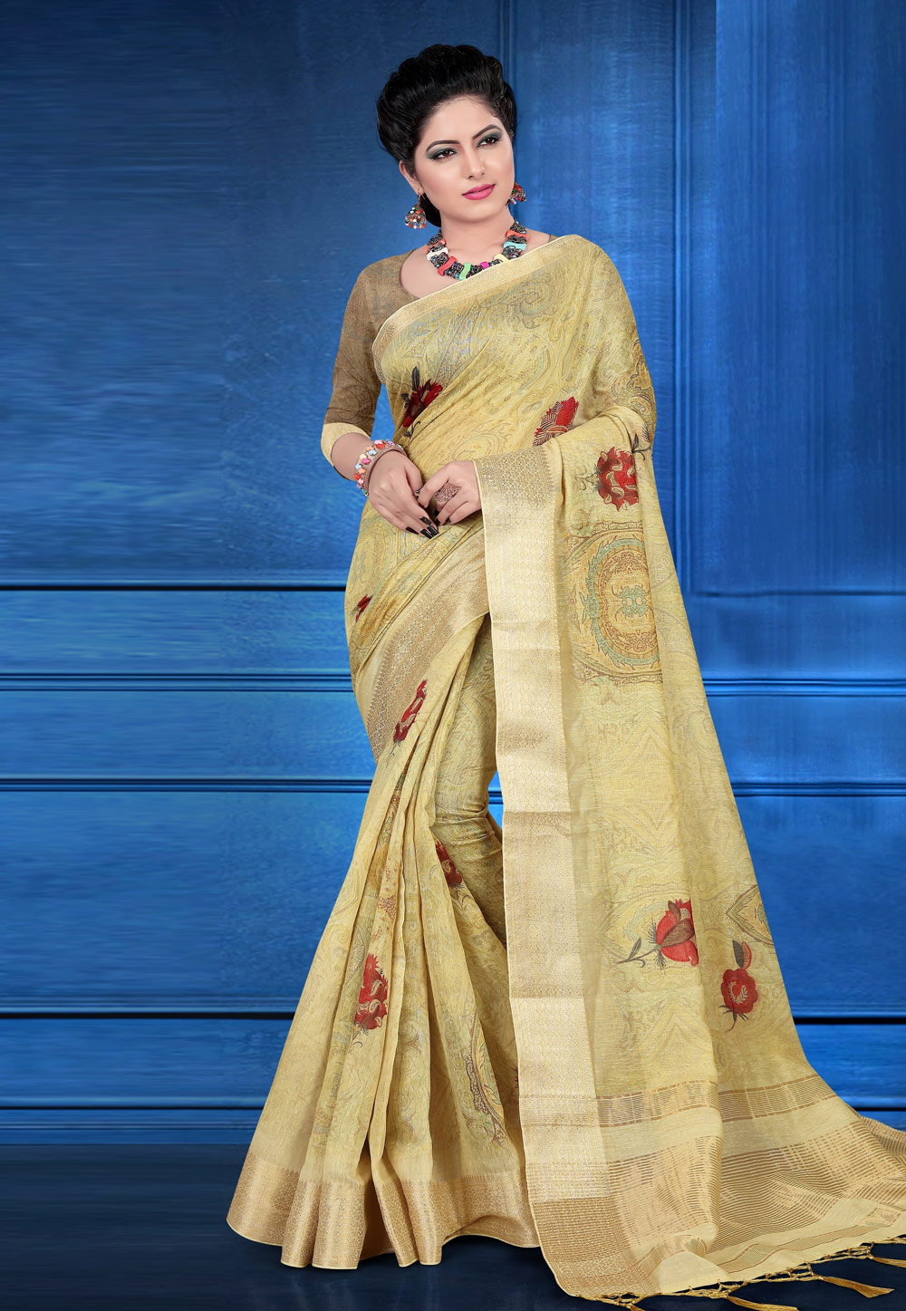Beige Jacquard Printed Saree With Blouse 184766