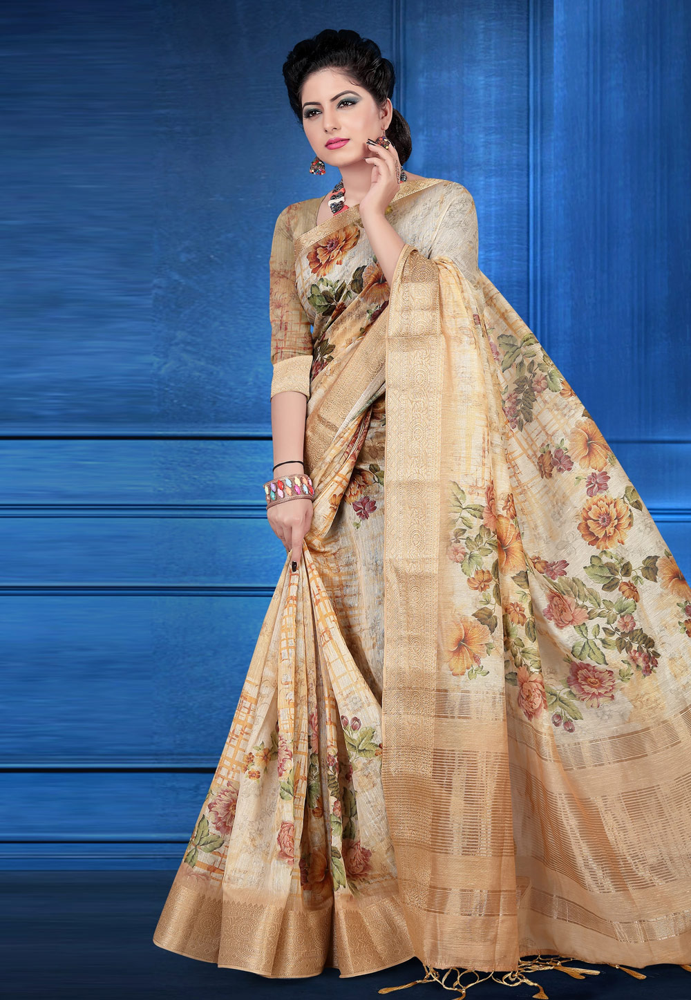 Beige Jacquard Printed Saree With Blouse 184775