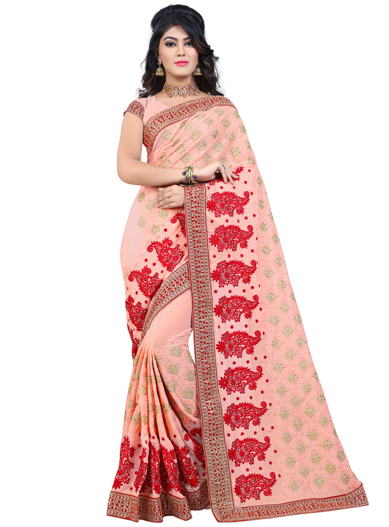 Pink Georgette Saree With Blouse 130939