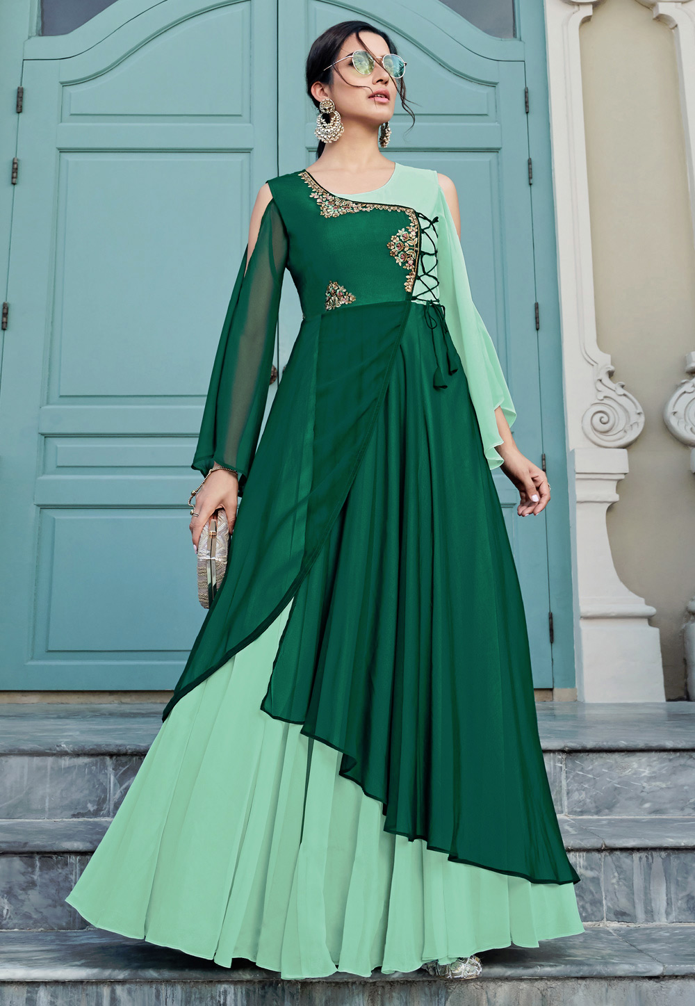 Green Georgette Readymade Party Wear Gown 203288