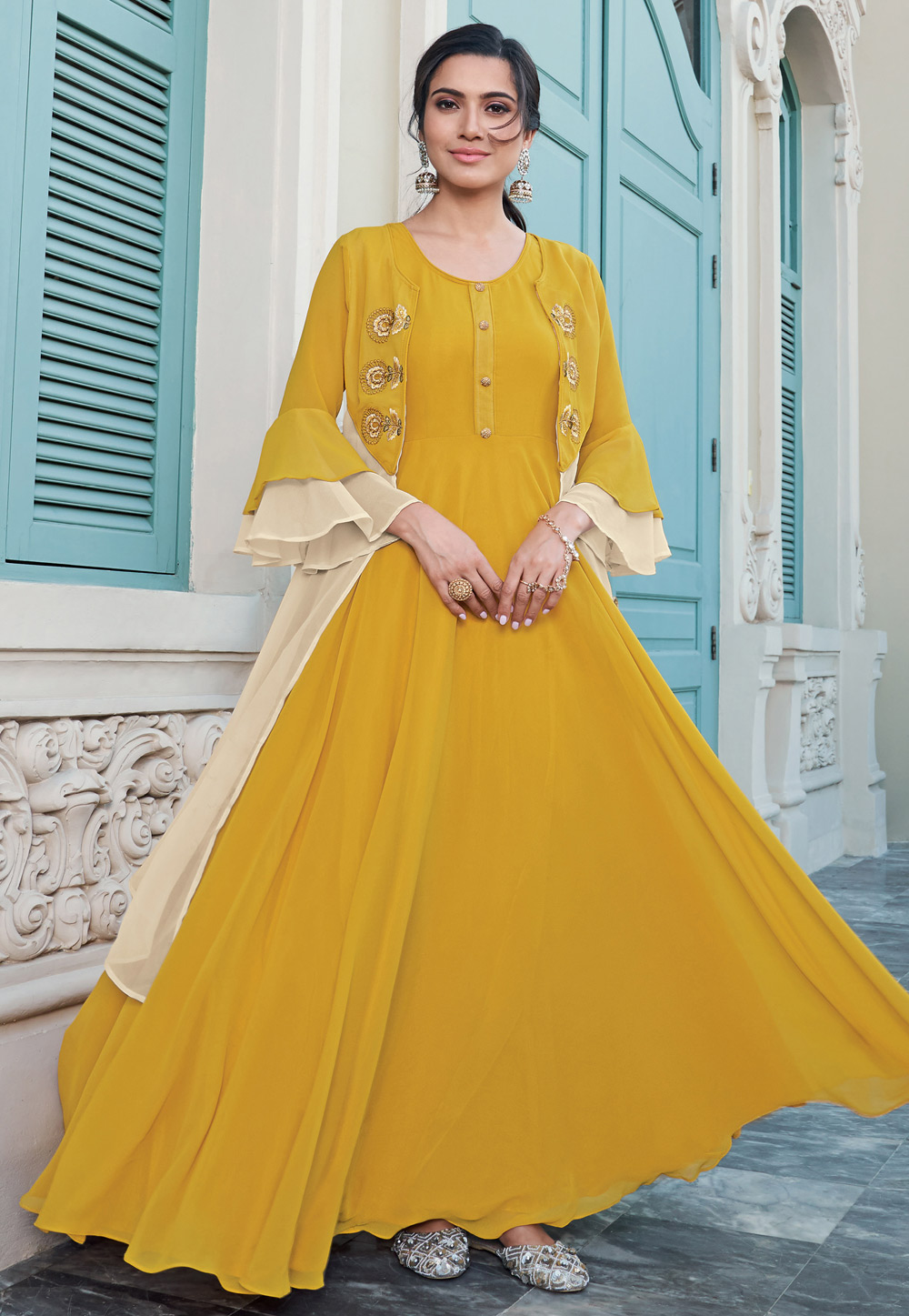 Mustard Georgette Readymade Gown 203289