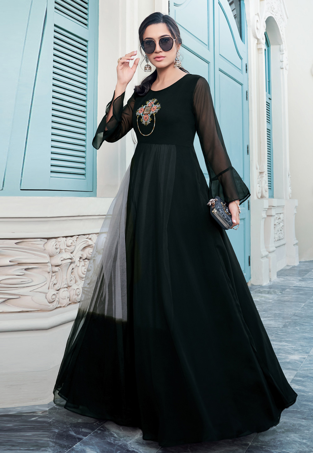 Black Georgette Readymade Gown 203291