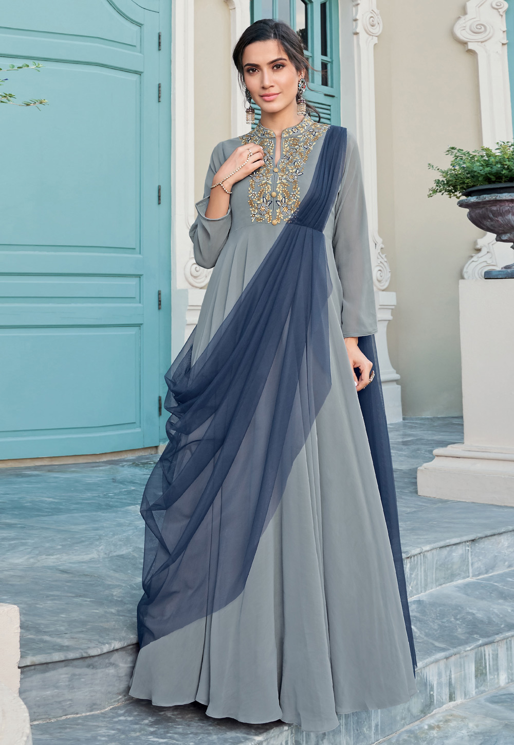 Grey Georgette Readymade Gown 203292