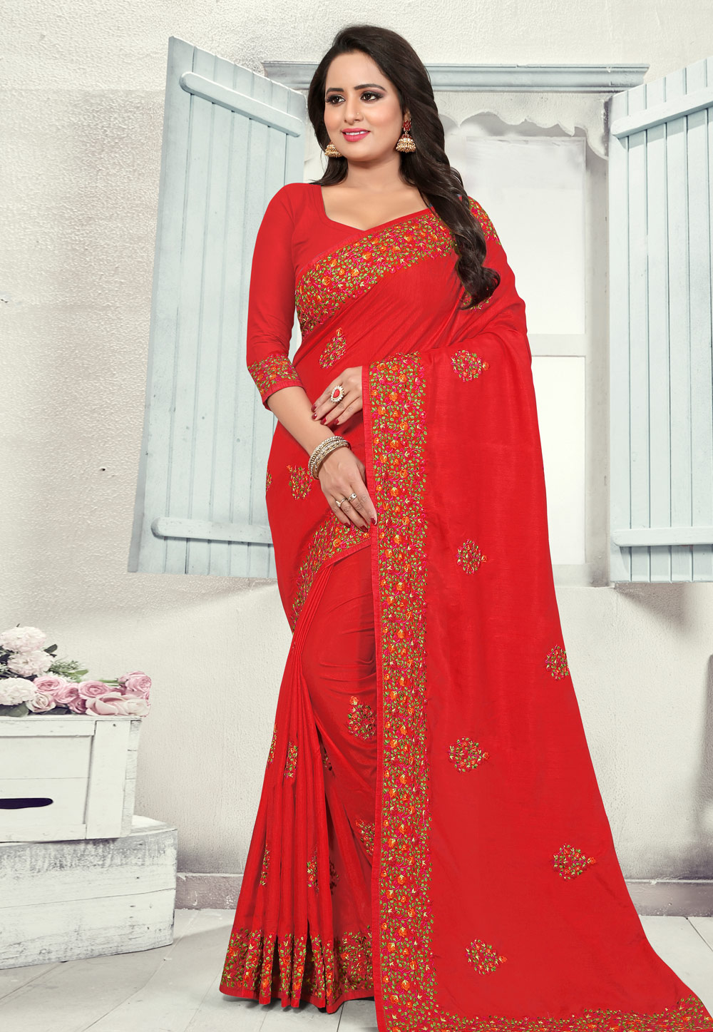 Red Silk Saree With Blouse 186848