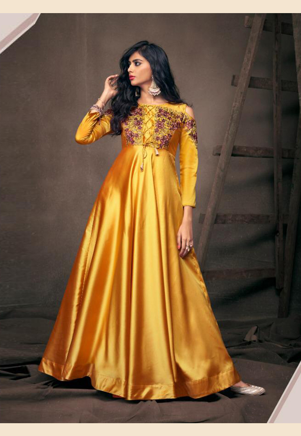 Yellow Taffeta Readymade Gown 166868