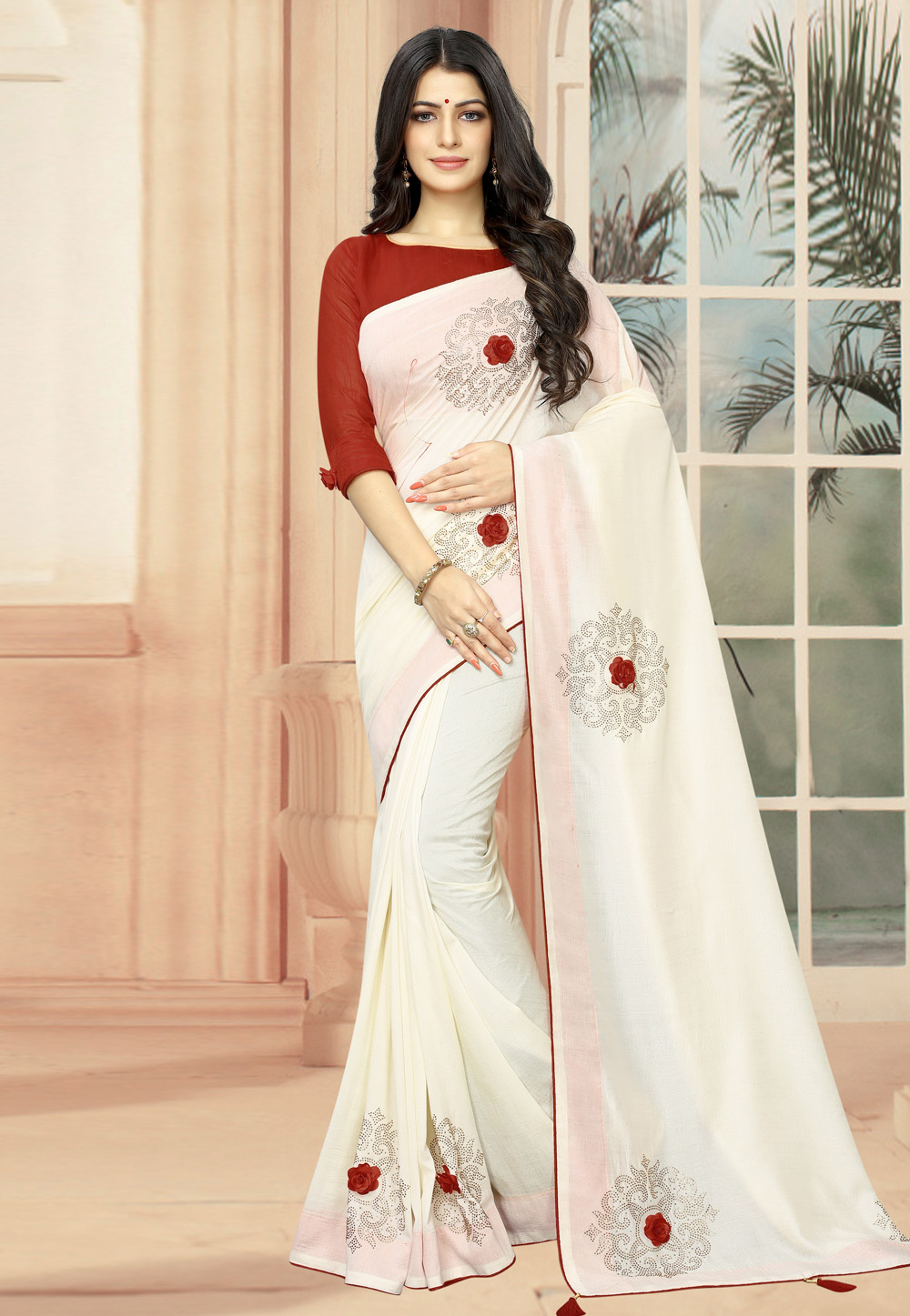 Off White Silk Saree With Blouse 195139