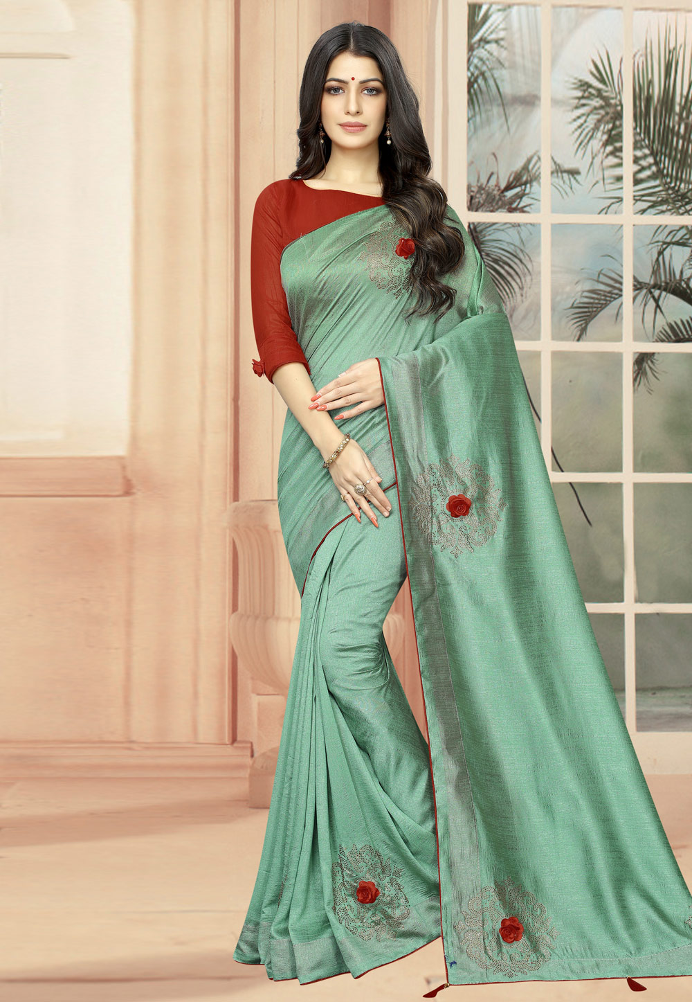 Sea Green Silk Festival Wear Saree 195146