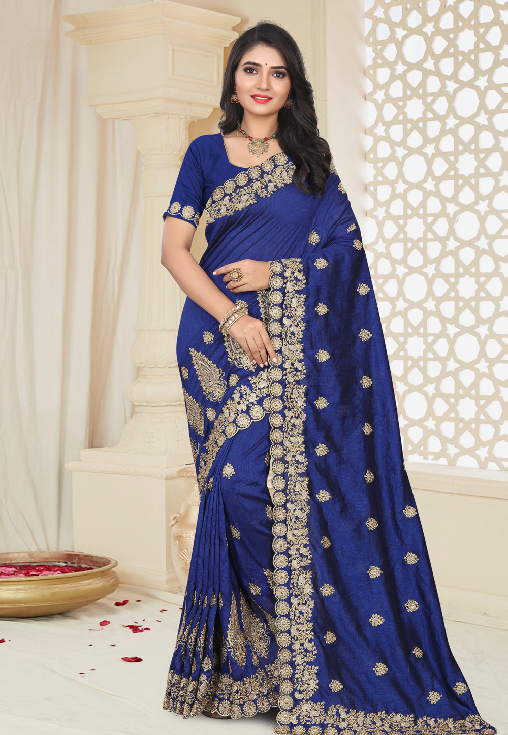 Blue Silk Festival Wear Saree 195678