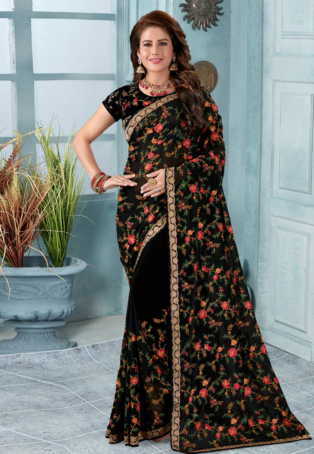 Black Georgette Saree With Blouse 196499