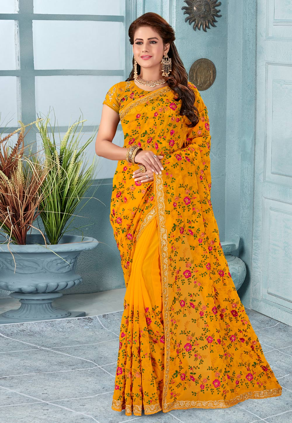 Orange Georgette Saree With Blouse 196501