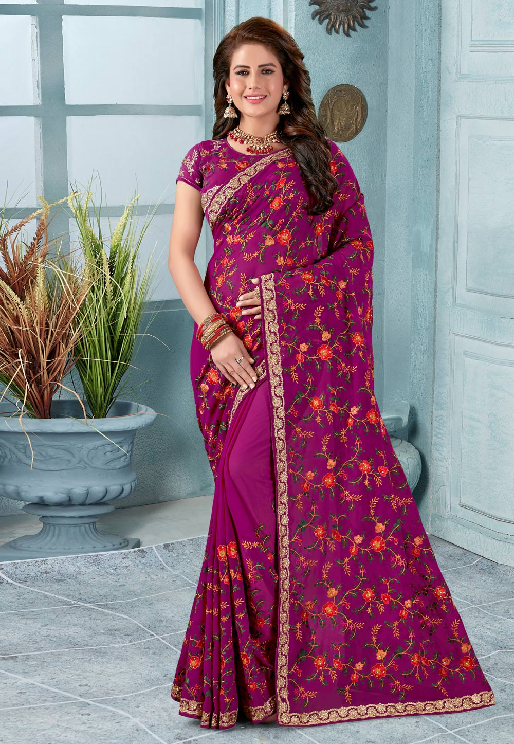 Magenta Georgette Festival Wear Saree 196502