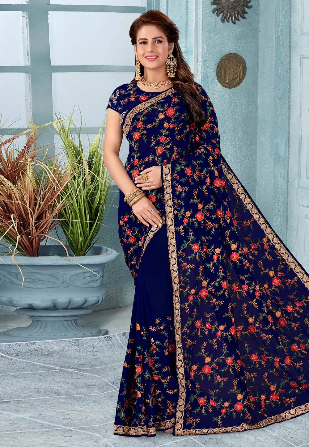 Blue Georgette Saree With Blouse 196503