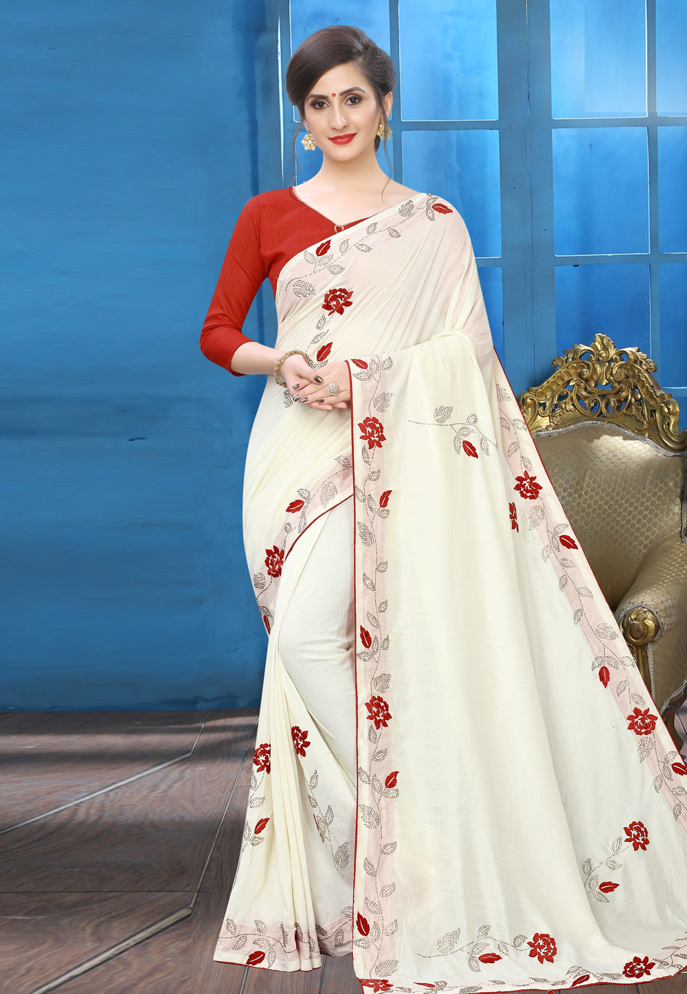 Off White Silk Festival Wear Saree 196761