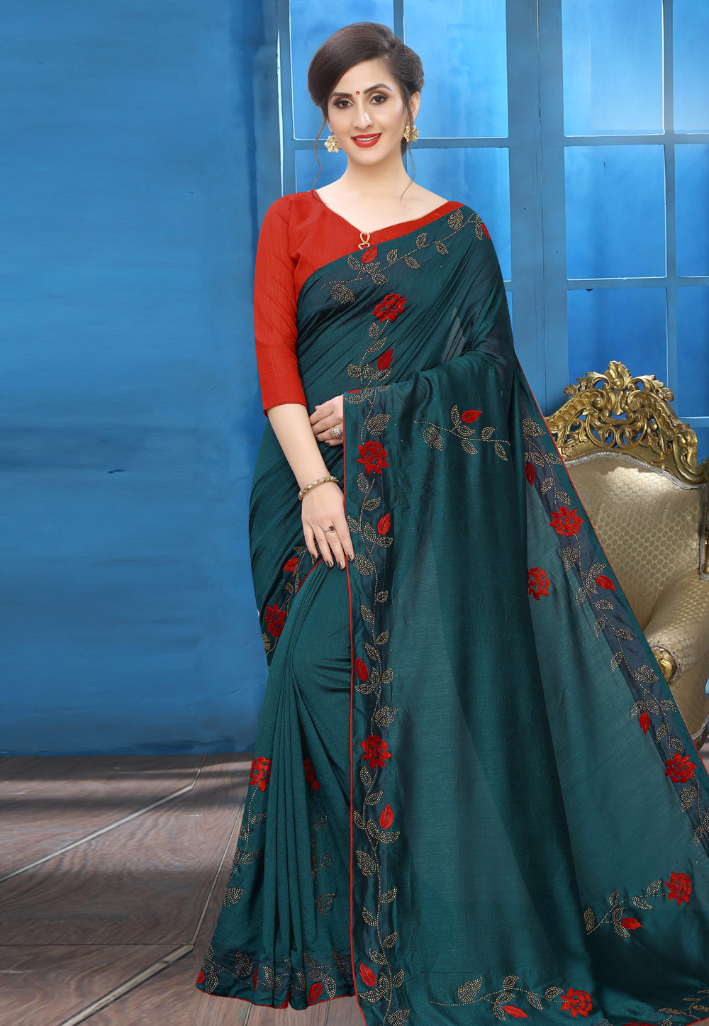 Teal Blue Silk Festival Wear Saree 196765