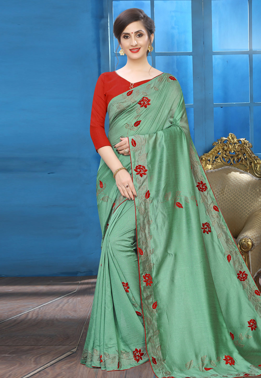 Green Silk Saree With Blouse 196766