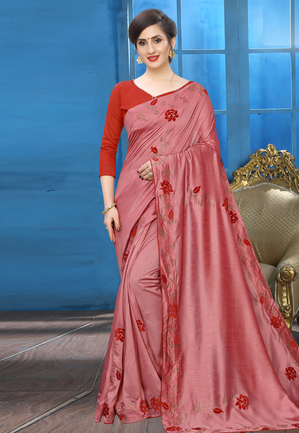 Pink Silk Saree With Blouse 196768