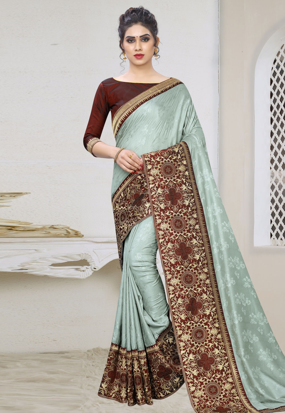 Grey Silk Saree With Blouse 197898