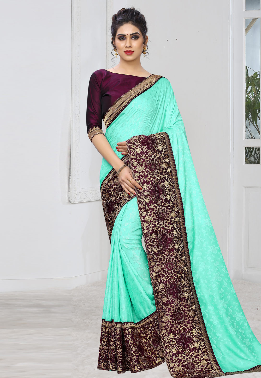 Aqua Silk Festival Wear Saree 197899