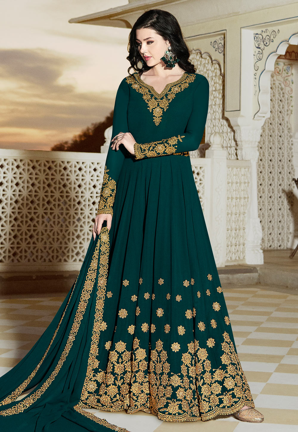 Teal Georgette Embroidered Long Anarkali Suit 163636