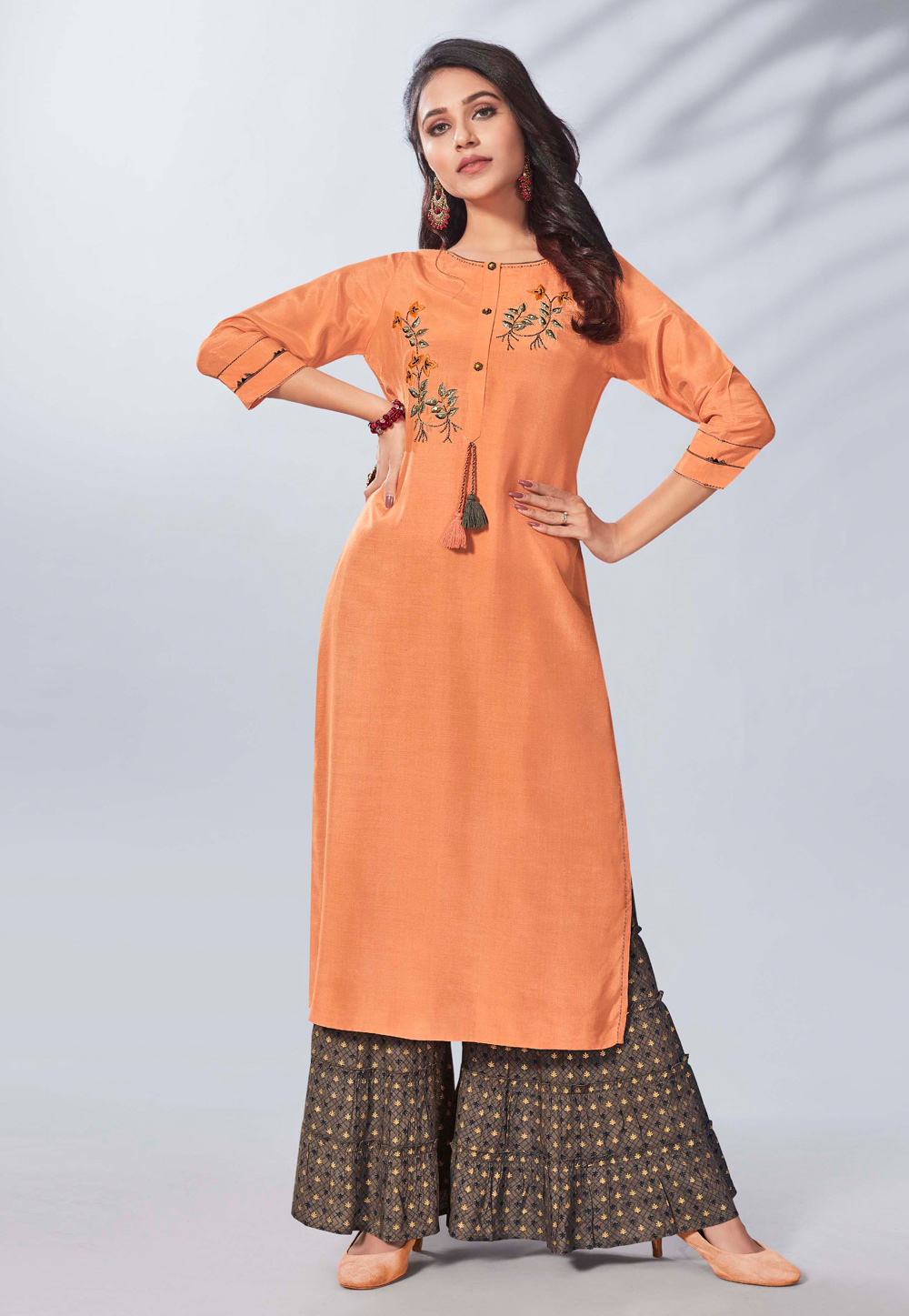 Peach Viscose Readymade Sharara Suit 197090